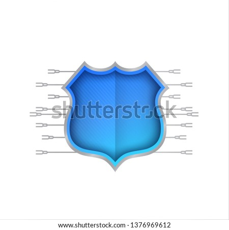 Shield Secure Connections sign illustration design over a white background