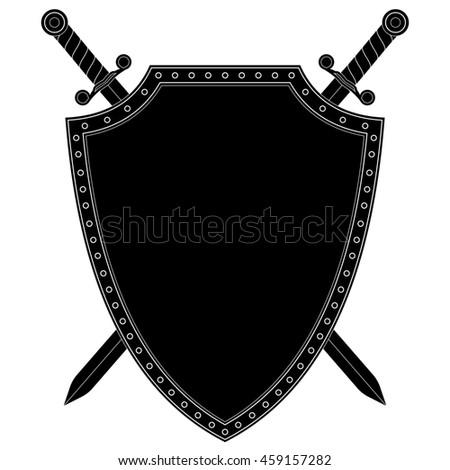 Shield and swords  Black icon  Vector… Stock Photo 394735303