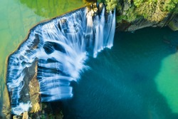 Shifen Waterfall Aerial View - Famous nature landscape of Taiwan, shot in Pingxi District, New Taipei, Taiwan.