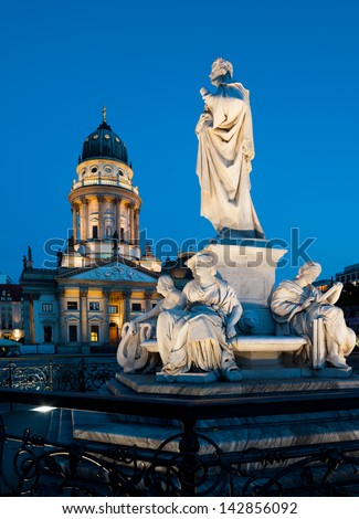 Shiller monument and German Cathedral at Gendarmenmarkt in Berlin