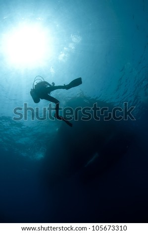 shilouetted scuba divers swim in the deep blue ocean #105673310