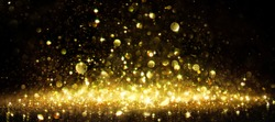 Shimmer Of Golden Glitter On Black - holiday christmas background