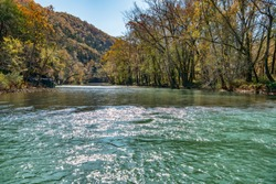 Shimmering Aquamarine Waters of the Buffalo River in the Boxley Valley of Arkansas