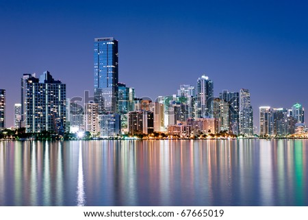 shimmering skyline of miami along biscayne bay on cloudless night, december 2010, high resolution image