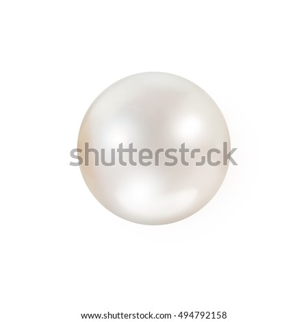 Shimmering white natural pearl isolated on white background