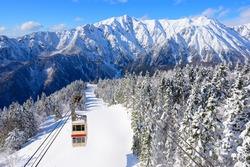 Shin-Hotaka Ropeway climbs up the top of Hotaka mountain in winter season, Okuhida, Gifu, Japan