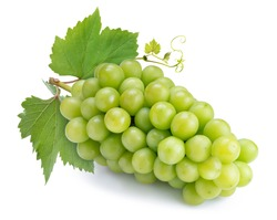 Shine Muscat Grape isolated on white background, Green grape with leaves isolated on white.