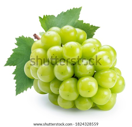 Photo of  Shine Muscat Grape isolated on white background, Green grape with leaves isolated on white With clipping path.