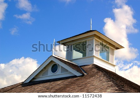 shingle rooftop against a cloudy sky