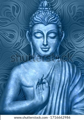 Shining and glowing Buddha in a Lotus Pose - digital art collage combined with on dark background and stylized mandala Stockfoto ©