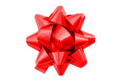 Shining anniversary gift and present decorating silky ornament concept red sleek polished glossy bow isolated on white background clipping path cutout