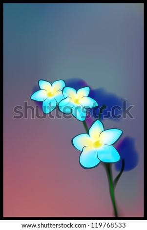 Shining blue flowers