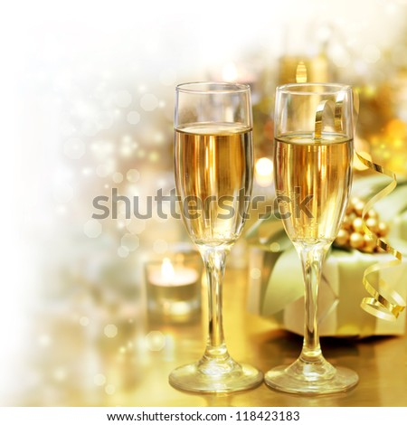 shining champagne classes with fade to white copy space