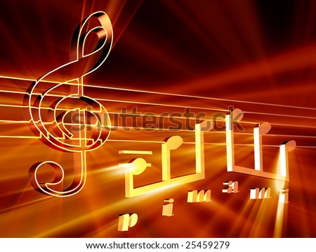 Shining 3d rendered golden music notes - stock photo