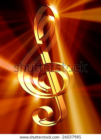 Shining 3d rendered golden treble clef