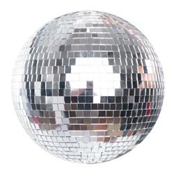 Shining Disco Ball Party Efect isolated on white background