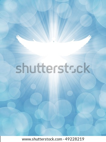 shining dove with rays on a light blue background