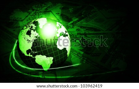 shining globe with dollars over dark green background