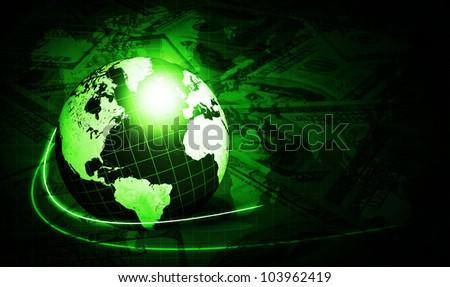 shining globe with dollars over dark green background