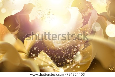 Shining golden color background, glittering particles and fluttering chiffon elements  - Shutterstock ID 754524403