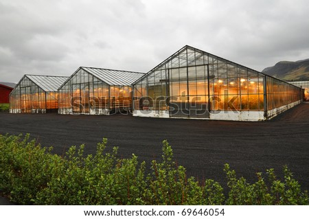 Shining greenhouse geothermal heated, Hveragerdi, south Iceland - stock photo