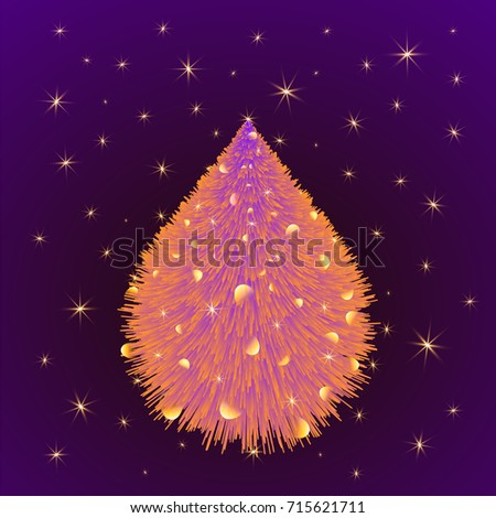 Shining neon christmas tree with golden stars and sparks. Festive illustration greeting card Merry Christmas and Happy New Year. Background template.