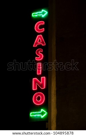 Shining neon sign  of casino
