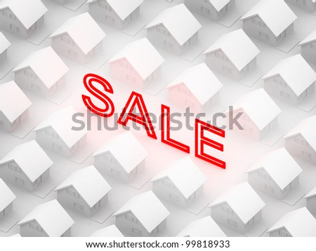 "Shining sign ""sale"" between the white houses in orthographic view."