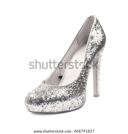 e918fd43f1 Shining silver high-heeled footwear shoe isolated over the white background  #468791837