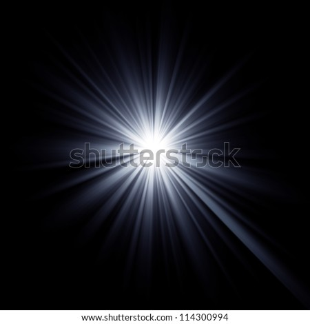 Shining star bursting with beams. Explosion rays light optical effect.