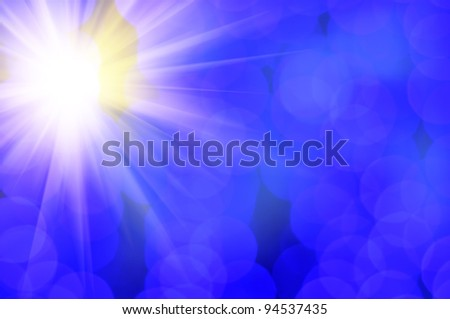 Shining Sun and Blue Lens Flare