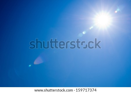 Shining sun at clear blue sky #159717374