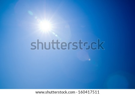 Shining sun at clear blue sky #160417511