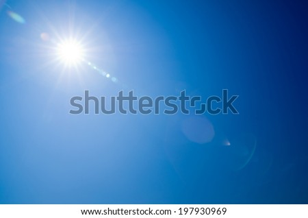Shining sun at clear blue sky #197930969