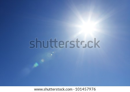 Shining sun at clear blue sky with copy space #101457976