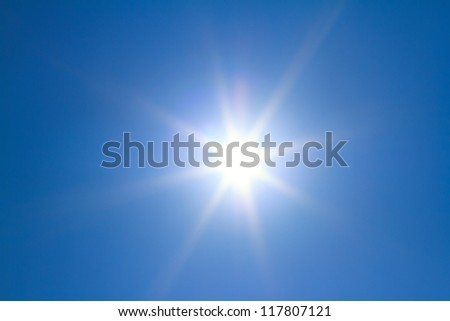 Shining sun at clear blue sky with copy space #117807121