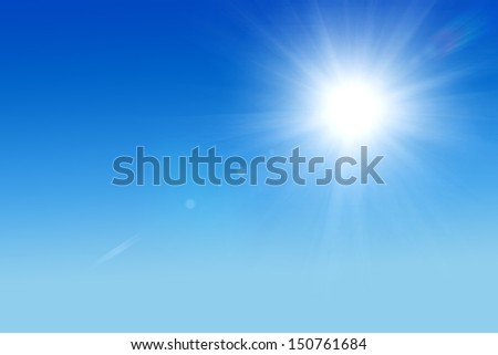 Shining sun at clear blue sky with copy space - Shutterstock ID 150761684