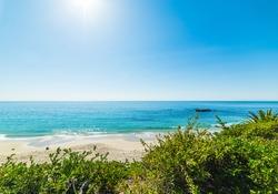 Shining sun over Laguna Beach, California