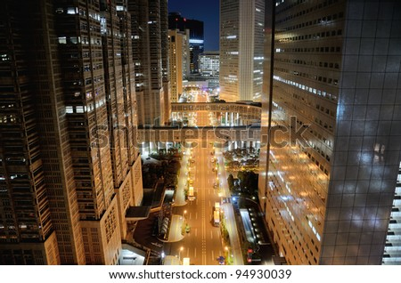 Shinjuku at night. Road in front of the Tokyo Metropolitan Government.
