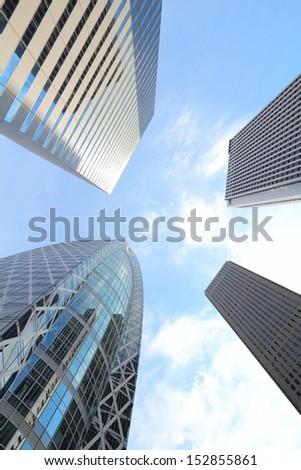 Shinjuku, Tokyo - wide angle view of modern city in Japan