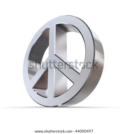 shiny abstract 3d peace sign made of silver/chrome