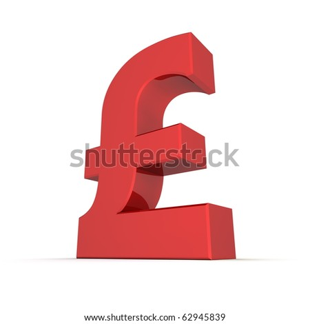 shiny and glossy red 3D pound currency symbol