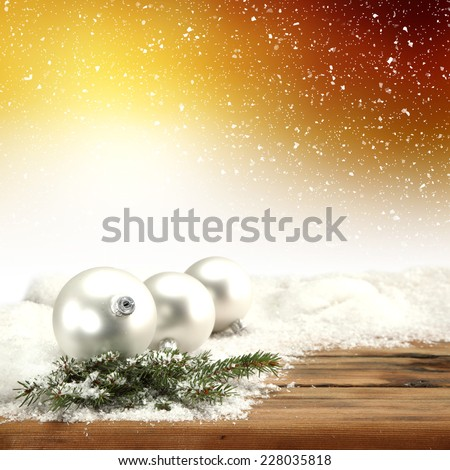 shiny background of holiday and balls of silver