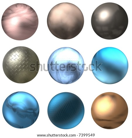 Shiny Balls and Web Buttons - stock photo