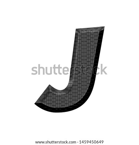 Shiny black metal letter J in a 3D illustration with a panel style industrial metallic texture and basic bold font isolated on white with clipping path Stock fotó ©