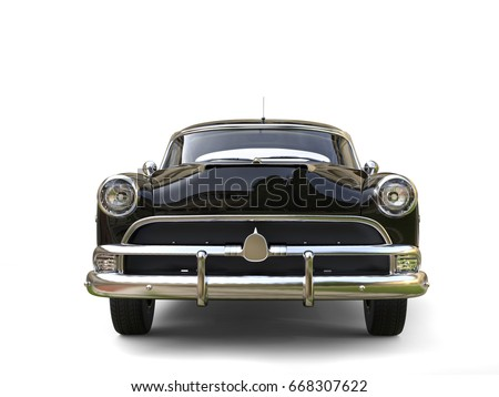 Shiny black restored vintage car - front view - 3D Illustration