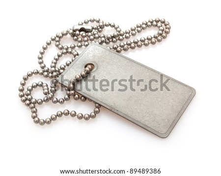 Shiny Blank Metallic Military Identification Plate on White Background With Shadow