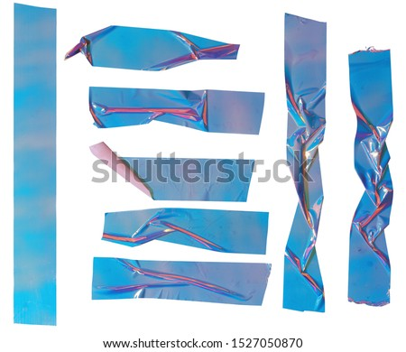 Shiny blue crumpled stickers. Cool set of metallic holographic sticky tape shapes isolated on white background. Holo glitter stripes or snips.