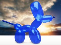 Shiny blue dog balloon animal sculpture from the Broad
