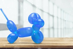 shiny blue dog balloon animal sculpture from the Broad in Los Angeles, CA
